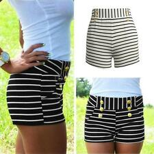 Fashion Womens Vintage High Waist Summer Striped Shorts Short Hot Pants V0A5
