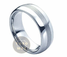 Men's 8mm Semi-Dome Pipe-Cut Polish Tungsten Ring w/ Brushed Center TS0220