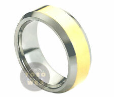 Men's 8mm Beveled Edge High Polish Tungsten Ring w/ Yellow Gold IP Center TS0240