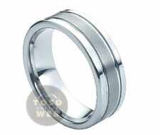 Men's 8mm Pipe-Cut Edge Polish Tungsten Ring w/ Grooved Brushed Center TS0280