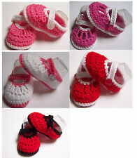 Girl pink or red hand made newborn baby crochet wool strap booties size 000 8 cm