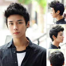 Men Handsome Vogue Short Black Hair Cosplay Party Hair Full Wigs No Lace Front