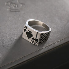Mens Boys Silver Ace of Spades Playing Card Gambling Solid Stainless Steel Ring