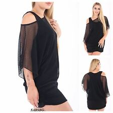 NEW WOMENS LADIES MESH NET OFF SHOULDER 2 IN 1 TUNIC BATWING TOP PLUS SIZE 16-26