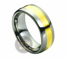 Ladies 8mm 2-Tone Polish Tungsten Ring w/ Yellow Gold Ion Plated Center TS1800
