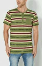 NEW Men's Rue 21 Olive Aztec Striped Long Sleeve Henley Size Medium