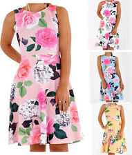 Womens Ladies Sleeveless Floral Print Flared Short Mini Party Skater Dress Top
