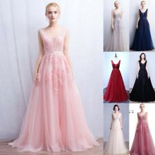 Long Lace Evening Formal Dress Prom Gown Bridesmaid Wedding Cocktail Party Dress
