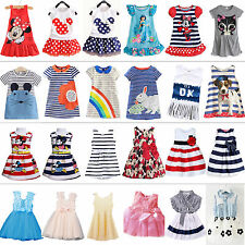Kids Baby Girls Summer Dress Princess Party Sundress Long Tops Clothes 1-7 Years