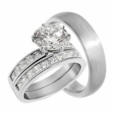 His and Hers Solitaire CZ Wedding Engagement Ring Set for Him and Her