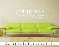 Love The Life You Live Bob Marley Bedroom Wall Quote Vinyl Decal Saying Sticker