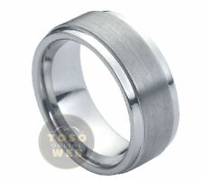 Men's 9mm Pipe-Cut Stepped Edge Polish Tungsten Ring w/ Brushed Center TS0050
