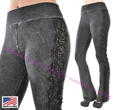 T-Party Foldover Thick Black Stone Wash LACE ROSES Side Trim Yoga Pants S M L