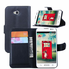 For LG Optimus L70 Flip Magnetic Card Wallet PU Leather Case Stand Cover Skin