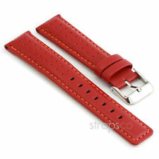 StrapsCo Rally Racing Perforated Leather Watch Band Strap in Red