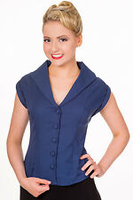 Banned Apparel 50s Rockabilly Vintage Shirt Blouse Button Top Pinup Navy Blue