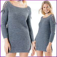 Lace up Sleeve Sexy Jumper Dress Knitted Ribbed Womens Ladies Size New ❤