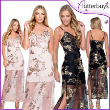 Sequin Maxi Dress Sexy Net Sheer Mesh Party Club Prom Womens Ladies Size New ❤