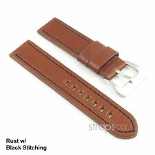 StrapsCo Vintage Style Thick Leather Watch Band Strap in Rust w/ Black Stitch