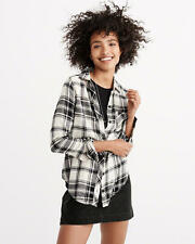 Abercrombie & Fitch Womens Signature Flannel Shirt 2XS Cream and Black Plaid NWT