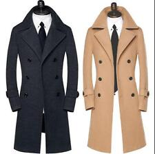 Mens Lapel Double Breasted Wool Jacket Slim Long England Style Trench Coat Sizes