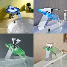 Modern LED Light Bathroom Waterfall Faucet Glass Wash Basin Mixer Tap Chrome US