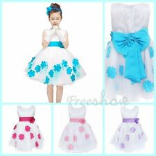 Kids Flower Girl Pageant Birthday Wedding Princess Formal Gown Petal Dresses