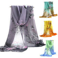 Women Girls Printed Flower Soft Silk Chiffon Neck Scarf Wrap Shawl Stole Ardent