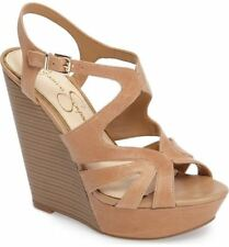 Jessica Simpson Brissah Wedge Sandal Buff Nude Leather HIgh Platform Sandal
