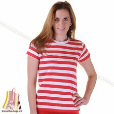 LADIES RED AND WHITE TOP LIKE WHERES WALLY STRIPED T-SHIRT TOP FANCY DRESS