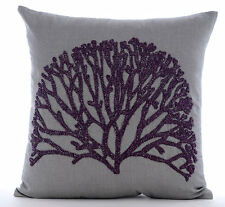Faraway Tree - Grey Cotton Linen 45x45 cm Throw Cushion Cover