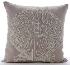 Beaded Oyster Beige Cotton Linen 45x45 cm Throw Cushion Cover - Scallop Shell