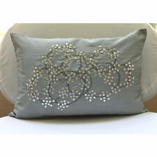 Silver Medallion Crystals 30x50 cm Silk Lumbar Cushion Cover - Crystal Circles