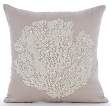 Beaded Sea Weeds 50x50 cm Cotton Linen Mocha Throw Cushions Cover - Pearl Weeds