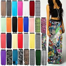 LADIES WOMENS NEW JERSEY MAXI SKIRT GYPSY BODYCON SUMMER DRESS SIZE 8-26