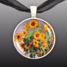 "Bouquet of Sunflowers Monet Summer Art Painting 1"" Pendant Necklace Silver Tone"