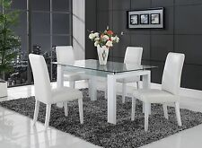 PC Dining Set (Dining Table & Chairs in White Upholstery)