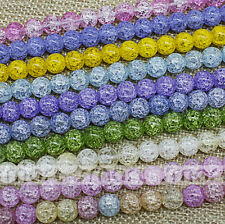 Mixed Color Glass Imitated Cracked Crystal Round Loose Beads 6 8 10 12mm