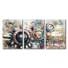 Hand Painted Abstract Canvas Art Wall Oil Painting 3D Circle Modern Decor Frame