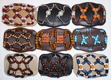 Double Magic Hair Combs, African Style Butterfly Clips, Multicolor Beads S25
