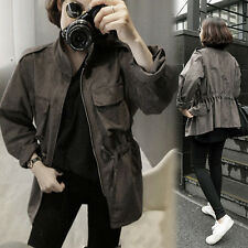 Korean Womens Waist Lacing Slim Trench Coat Suede Brown Overalls Jacket Outdoor