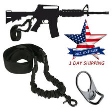 AR 15 Single Point Sling WITH Adapter Plate Mount COMBO Rifle Tactical Bungee US