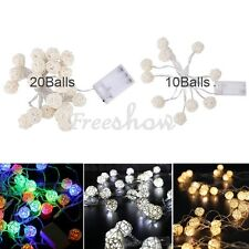 10 20 LED Rattan Ball Wedding Xmas Party Decor Outdoor Fairy String Lights Lamp