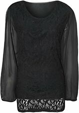NEW WOMEN PLUS SIZE LACE LINED SHEER LONG SLEEVE LADIES CHIFFON TUNIC PARTY TOP