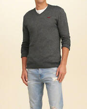 Abercrombie & Fitch - Hollister Mens V Neck Icon Sweater Pullover S Grey NWT