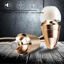 HiFi Gold Bullet Stereo Earphones Super Bass Headset 3.5mm In-Ear With Mic 1.2m