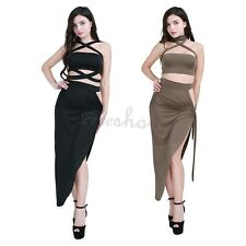 Women 2 Piece Set Evening Party Midy Dress BodyconStretchy Skirt Crop Top Outfit