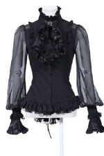 Victorian LONG SLEEVE-BLOUSE JABOT BROOCH Black White Steampunk Gothic RQ-BL