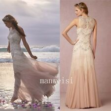 Beach Champagne Wedding Dress Rhinestone Sleeveless Elegant Long Bridal Gowns