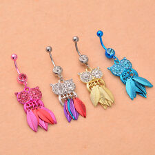 Belly Ring Navel Button 1Pcs Owl Leaves Rhinestone Piercing Body Stainless Steel